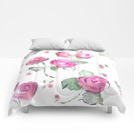 watercolor rose buds Comforters