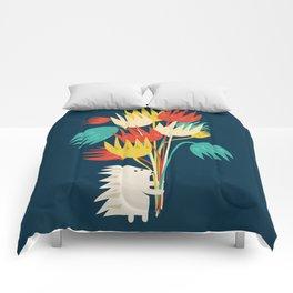 Hedgehog with flowers Comforters