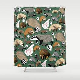 Eurasian badgers pattern Green Shower Curtain