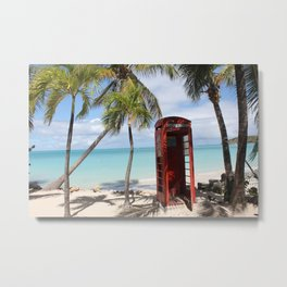 Red public Telephone Booth on Antigua Metal Print