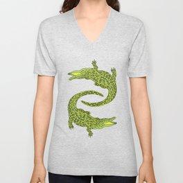 Crocodiles (Deep Navy and Green Palette) Unisex V-Neck