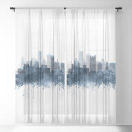 Pittsburgh City Skyline Watercolor Blue by Zouzounio Art Sheer Curtain