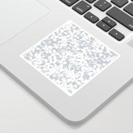 White and Grey Botanical Silhouette Pattern - Broken but Flourishing Sticker