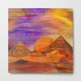 Egyptian pyramids abstract landscape Mixed Media Metal Print