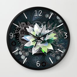 Dark blue and black zentangle inspired waterlily  Wall Clock