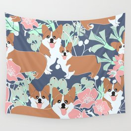 Corgi dogs floral hideout Wall Tapestry