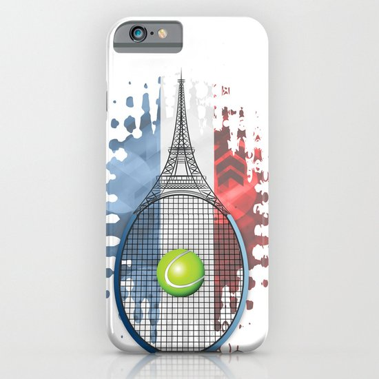 Racquet Eiffel Tower with French flag colors in background iPhone & iPod Case