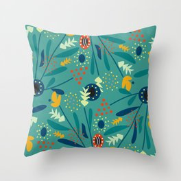 Floral dance in blue Throw Pillow