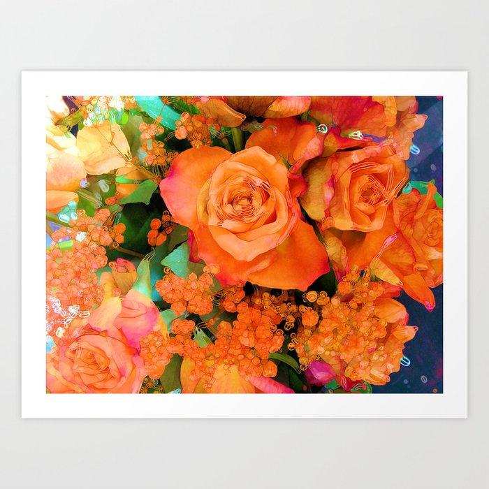 Fiery Flowers Art Print