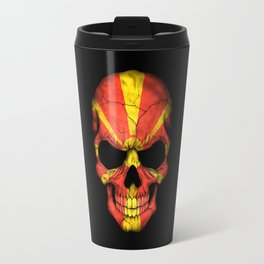 Dark Skull with Flag of Macedonia Travel Mug