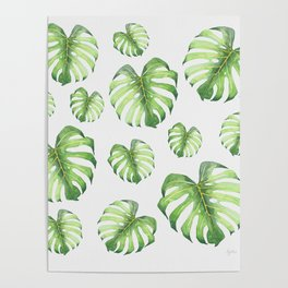 Watercolor monstera pattern Poster