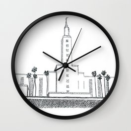 Los Angeles LDS Temple Ink Drawing Wall Clock