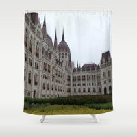 budapest Shower Curtains featuring Budapest  by Katarina