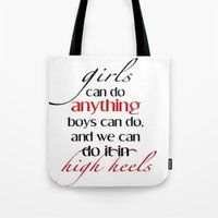 heels Tote Bags featuring Heels by Luxe Glam Decor