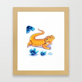 Bearded Dragon - Blue Crystals Framed Art Print