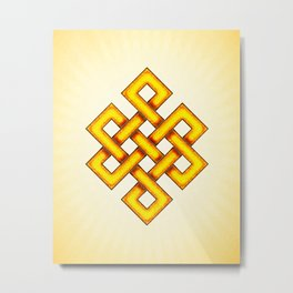 Endless Knot Yellow Metal Print