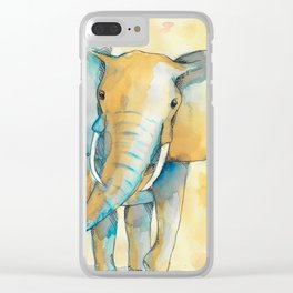 Water Color Elephant Colorful Clear iPhone Case