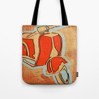 vespa Tote Bags featuring Vespa by Wood Grian & Grits