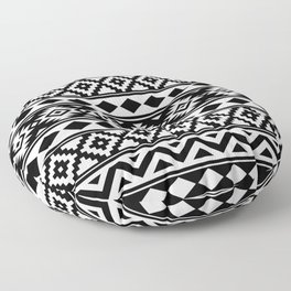 Aztec Essence IIIb Ptn White & Black Floor Pillow