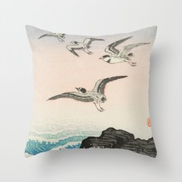 Seagulls above the stormy sea - Vintage Japanese Woodblock Print Throw Pillow