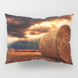 bales of hay in warm tones HDR Pillow Sham