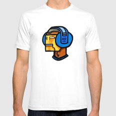 headfone SMALL White Mens Fitted Tee