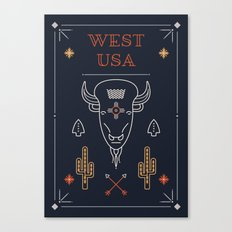 West USA (Navy) Canvas Print