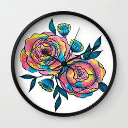 technicolor roses Wall Clock