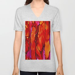 Reverie in Red Yellow and Violet Unisex V-Neck