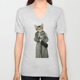 Kitten Dressed as Cat Unisex V-Neck