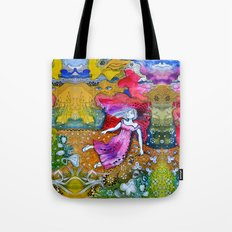 Girl in colorful  Tote Bag