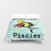 astrology Duvet Covers featuring Pisces Astrology Sign by TrinityHawk Photography & Multimedia