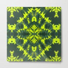 Tie dye neon green Shibori style design large scale Metal Print