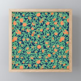 Oranges and Leaves Pattern - Navy Blue Framed Mini Art Print