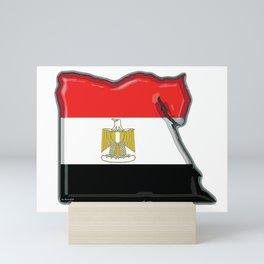 Egypt Map with Egyptian Flag Mini Art Print