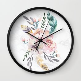 Forest Floral Marble by Nature Magick Wall Clock