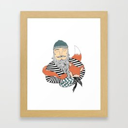 Man and fox. Framed Art Print