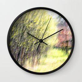 Abstract forest, intentionally blurred by camera shake Wall Clock