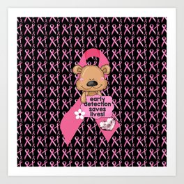 Early Detection Saves Lives Breast Cancer Art Print
