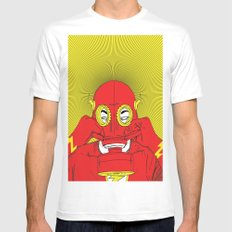 Unmask The : Flash MEDIUM White Mens Fitted Tee