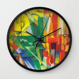 "Franz Marc ""Landscape with House and Two Cows (also known as Landscape with House, Dog and Cattle)"" Wall Clock"