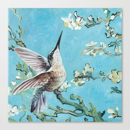 Almond Blossom with Hummingbirds I Canvas Print