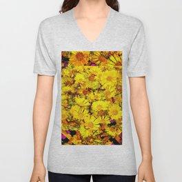 Rich Golden Yellow  Coreopsis Flowers Modern Art Unisex V-Neck