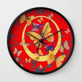 SHABBY CHIC GOLDEN BUTTERFLIES & RED ABSTRACT ART Wall Clock