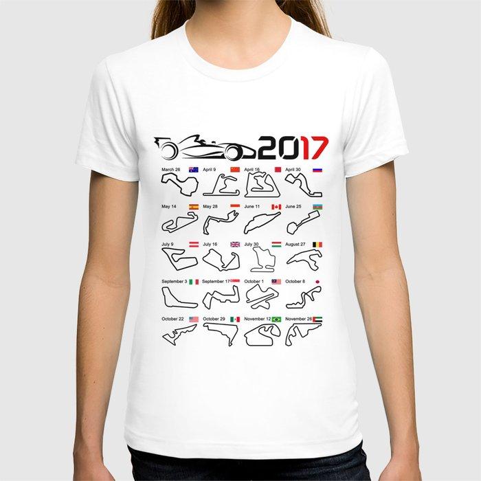 Calendar F1 2017 circuits white T-shirt