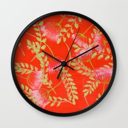 Mimosa with Green Leaves Wall Clock