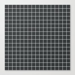 Onyx - grey color - White Lines Grid Pattern Canvas Print