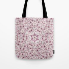 Vintage Raspberry Pink and Paris Gray Earth Mandala with Hearts Tote Bag