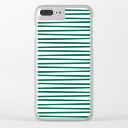Teal green and white thin horizontal stripes Clear iPhone Case