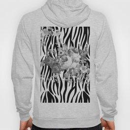 Vintage elegant black white floral zebra animal print collage Hoody